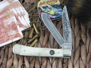 Hen and Rooster Trapper with Smooth White Bone handles, 312