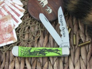 Case Knives Dragon Series Trapper Lime Green Bone TruSharp Stainless 6254 CA22388