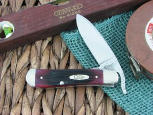 Case Cutlery Drop Point Russlock Sawcut Crimson Bone 61953.5L TruSharp CA29142