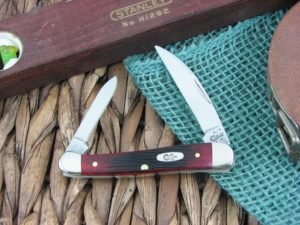 Case Knives Mini Copperhead Sawcut Crimson Bone TruSharp CA29144