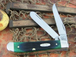 Case Knives Mini Trapper Hunter Green Barnboard Bone 6207 CA32113