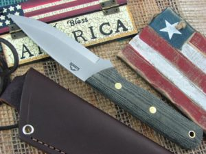 Landi Knives Scandi Bushcraft Jr Black Canvas Micarta O1