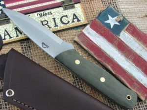 Landi Knives Scandi Bushcraft Jr OD Canvas Micarta O1
