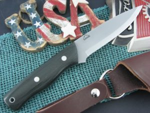 Landi Knives Scandi Bushcraft Black Canvas Micarta O1