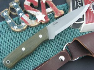 Landi Knives Scandi Bushcraft OD Canvas Micarta O1
