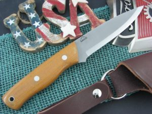 Landi Knives Scandi Bushcraft Natural Canvas Micarta O1
