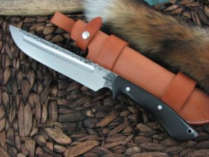 Lon Humphrey Reaver Camp with Black Micarta handles and 1095 steel