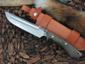 Lon Humphrey Reaver Camp with OD Green Micarta handles and 1095 steel