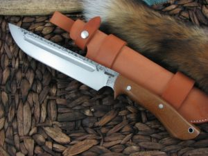 Lon Humphrey Reaver Camp with Natural Micarta handles and 1095 steel