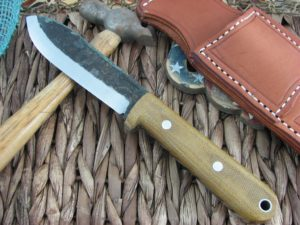 Lon Humphrey Kephart Scandi Spear with Natural Micarta handles and 1095 steel