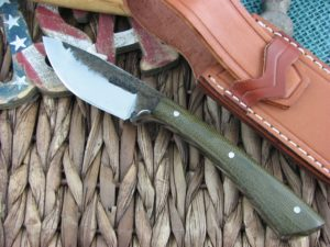 Lon Humphrey Muley Drop Point with OD Green Micarta handles and 1095 steel