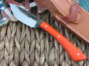 Lon Humphrey Muley Drop Point with Orange G10 handles and 1095 steel