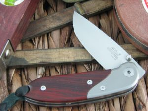 Lion Steel Mini Drop Point blade Cocobolo Wood - Titanium handles D2 steel 8200CB
