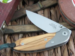 Lion Steel Mini Drop Point blade Olive Wood - Titanium handles D2 steel 8200UL