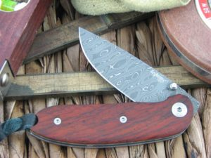 Lion Steel Mini Drop Point blade Cocobolo Wood handles Heinskingringla Inox Damascus steel 8210DCB