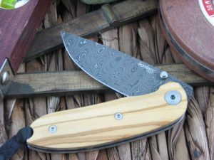Lion Steel Mini Drop Point blade Olive Wood handles Heinskingringla Inox Damascus steel 8210DUL