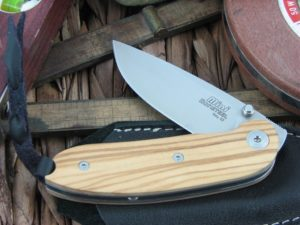 Lion Steel Mini Drop Point blade Olive Wood handles D2 steel 8210UL