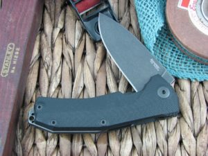 Lion Steel KUR Flipper with Black G10 handles Stonewashed PVD Sleipner steel Linerlock KURBBK