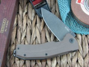 Lion Steel KUR Flipper with Brown G10 handles Stonewashed PVD Sleipner steel Linerlock KURBBR