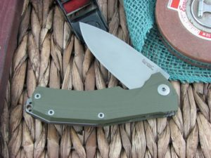 Lion Steel KUR Flipper with OD Green G10 handles Stonewashed Sleipner steel Linerlock KURGR