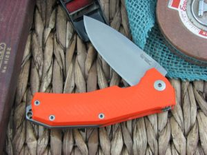 Lion Steel KUR Flipper with Orange G10 handles Stonewashed Sleipner steel Linerlock KUROR