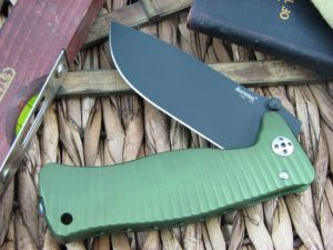 Lion Steel SR1 Drop Point blade Green Ergal Aluminum frame D2 steel SR-1AGB