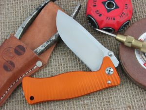 Lion Steel SR1 Drop Point blade Orange Ergal Aluminum frame D2 steel SR-1AOS