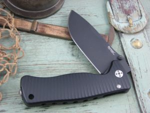 Lion Steel SR Mini SR2 Drop Point blade Black Ergal Aluminum frame Sleipner steel SR2ABB