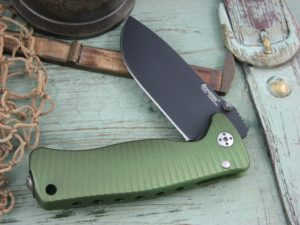 Lion Steel SR Mini SR2 Drop Point blade Green Ergal Aluminum frame Sleipner steel SR2AGB