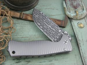 Lion Steel SR Mini SR2 Drop Point blade Matte Titanium 6Al4V frame Chad Nichols Lizard Damascus steel SR2DLG