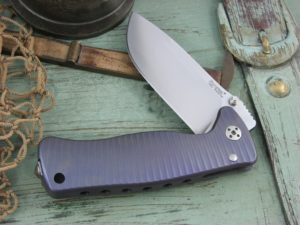 Lion Steel SR Mini SR2 Drop Point blade Matte Violet Titanium 6Al4V frame Sleipner steel SR2V