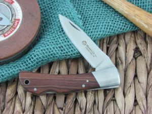 Maserin Cutlery Hunter 1 blade Cocobolo Wood handles 440C steel Satin finish 125-1LG