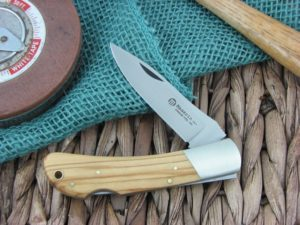 Maserin Cutlery Hunter 1 blade Olive Wood handles 440C steel Satin finish 125-1OL