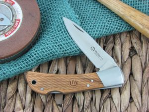 Maserin Cutlery Hunter 1 blade Carved Olive Wood handles 440C steel Satin finish 125-1OLP
