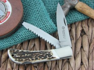 Maserin Cutlery Hunter 2 blade Stag handles 440C steel Satin finish 126-2CV