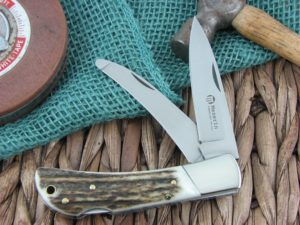 Maserin Cutlery Hunter 2 blade Stag handles 440C steel Satin finish 126-2CVS