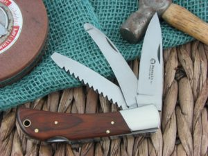 Maserin Cutlery Hunter 3 blade Cocobolo Wood handles 440C steel Satin finish 126-3LG