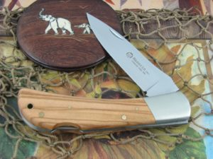 Maserin Cutlery Caccia Hunter Olive Wood handles 440C steel Satin finish 130OL