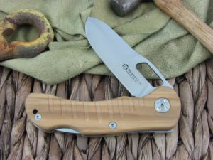 Maserin Cutlery Jager 1 blade Olive Wood handles 440C steel Satin finish 131-1OL