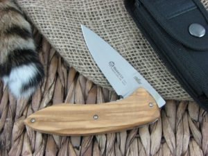 Maserin Cutlery Fly Olive Wood handles CPM-S35VN steel Satin finish 383-OL