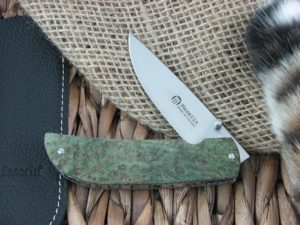 Maserin Cutlery Atti Green Burl Wood handles CPM-S35VN steel Satin finish 389-RV