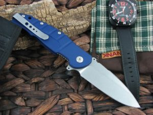 Maserin Cutlery Pitbull Blue Anodized Aluminum handles M390 steel  Stonewashed finish 404-B | CollectorKnives