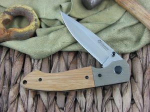 Maserin Cutlery Sport Green G10 and Bamboo Wood handles D2 steel Bead Blasted finish 46002GBA