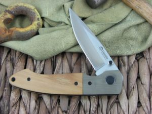 Maserin Cutlery Sport Green G10 and Olive Wood handles D2 steel Bead Blasted finish 46002GW6