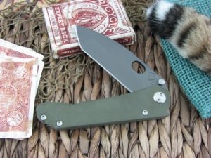 Medford 187DPT Drop Point Tanto D2 Steel Grey PVD Finish OD Green G10 Front Ti Tumbled Lock MK03DY10TM