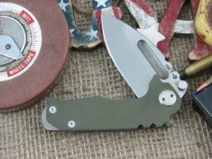 Medford Micro Praetorian Drop Point D2 Steel Tumbled Finish Blade OD G10 Front Ti Tumbled Lock