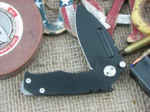 Medford Micro Praetorian Drop Point D2 Steel Oxide Finish Black G10 Front Ti Flame Lock