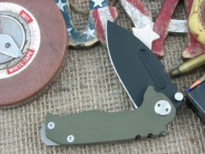 Medford Micro Praetorian Drop Point D2 Steel Oxide Finish Blade OD G10 Front Ti Tumbled Lock