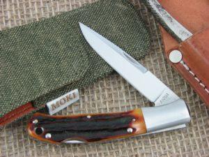 Moki Small Kronos Clip Amber Carved Stag Bone handles VG10 steel MK533ANZ