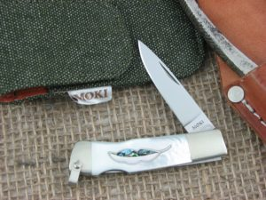 Moki Leaf Spear Mother of Pearl and Abalone handles VG10 steel MK810EL